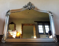 The Annecy Large Over mantle Mirror- Antique Silver