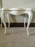 Charles Lamp Side Table: French White & Cream Marble