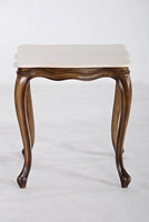 Light Olive Mahogany & White Marble Side Table