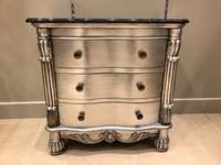 The Charles Side Chest - Antique Silver & Black Marble.