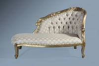Petit Chaise Longue- Antique Gold Leaf & Sesame.