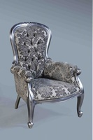 The Grandfather Chair: Antique Silver Leaf & Grey Damask.