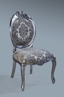 The Versailles Chair :Antique Silver Leaf w/ Grey Damask.