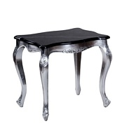 The Charles Lamp Table: Silver Leaf & Black Marble