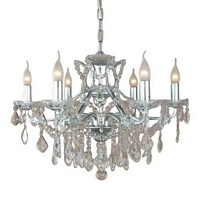 The Toulouse: Silver 6 Branch Shallow Chandelier