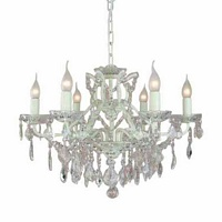 The Toulouse: Antique White 6 Branch Shallow Chandelier