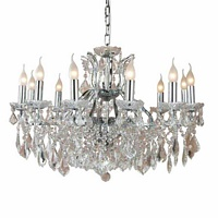 The Toulouse: Chrome 12 Branch Shallow Chandelier