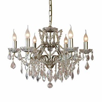 The Toulouse: Pale Gold 6 Branch Shallow Chandelier