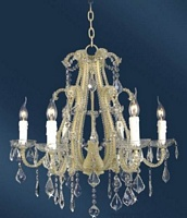 The Cannes: White 6 Branch Crystal Chandelier