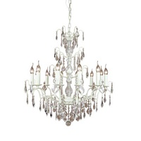 The Marseilles: Large 12 Branch Antique White French Chandelier
