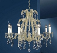 The Cannes: White 8 Branch Crystal Chandelier