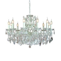 The Toulouse: Antique White 12 Branch Shallow Chandelier